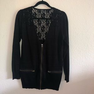 XOXO long sleeved zip up sweater with lace top